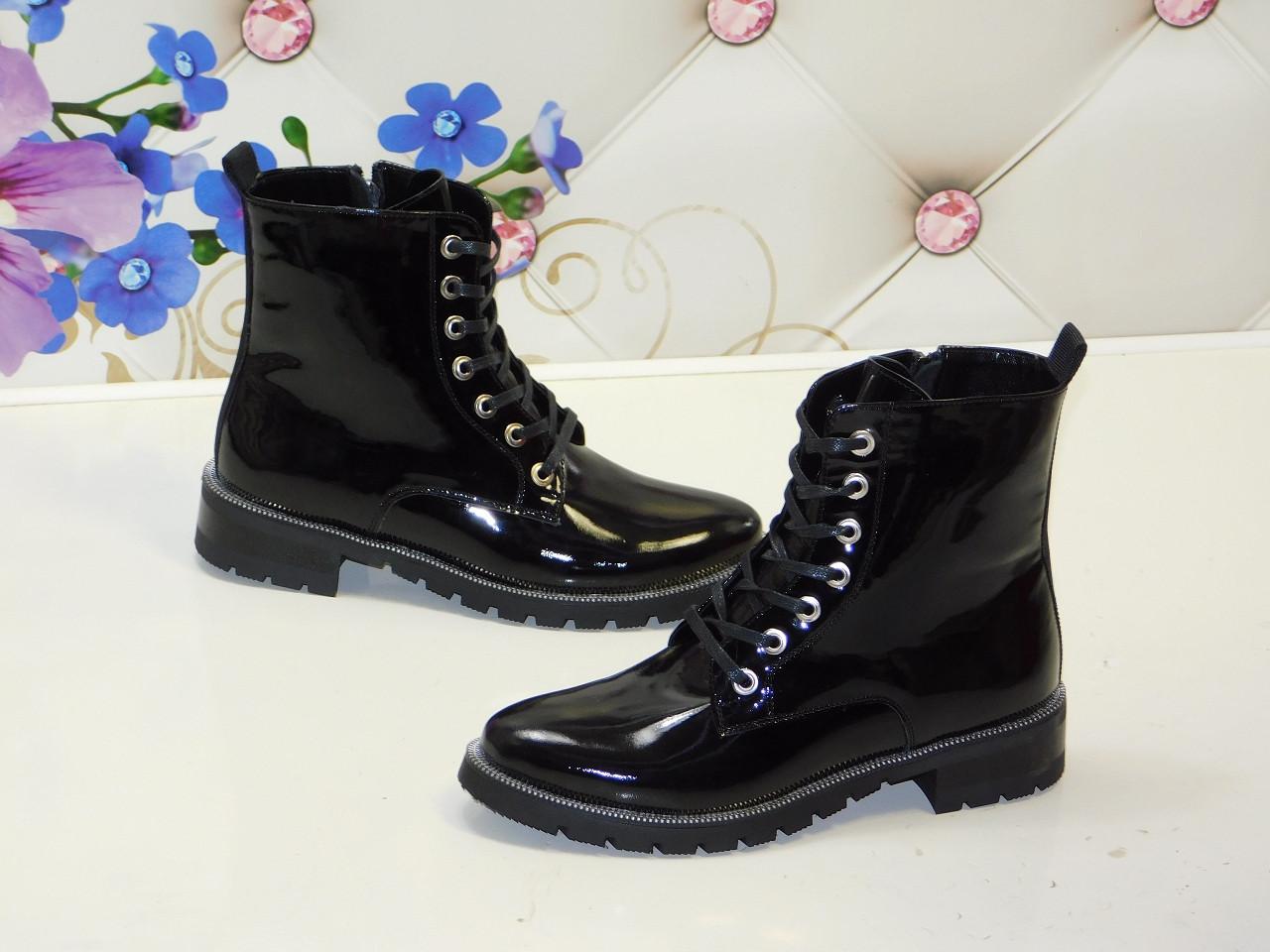 fcf32db6 Ботинки женские высокие кожаные лаковые черные демисезонные на шнуровке