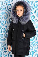 Черная зимняя куртка для девочки «Матильда» ТМ MANIFIK