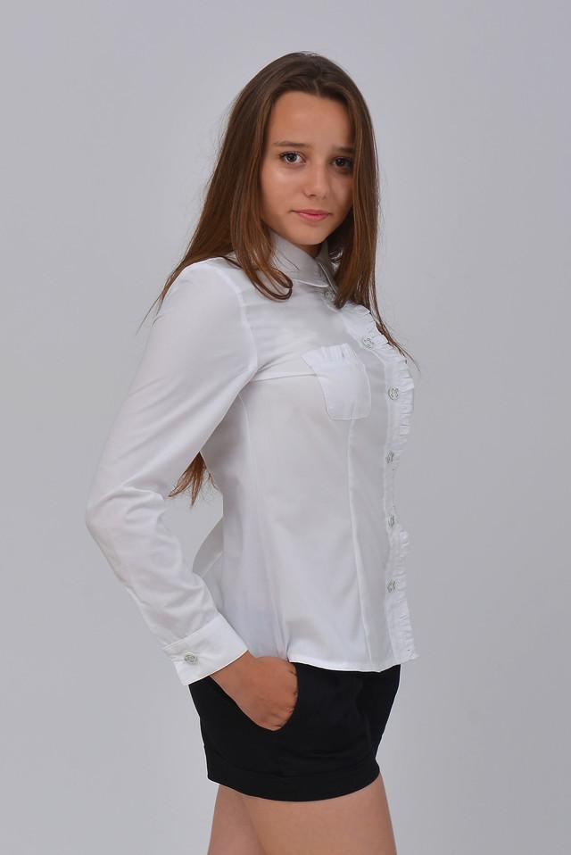 3106f35a399 Классическая белая женская блузка. Красивая белая рубашка. Длинный рукав ...