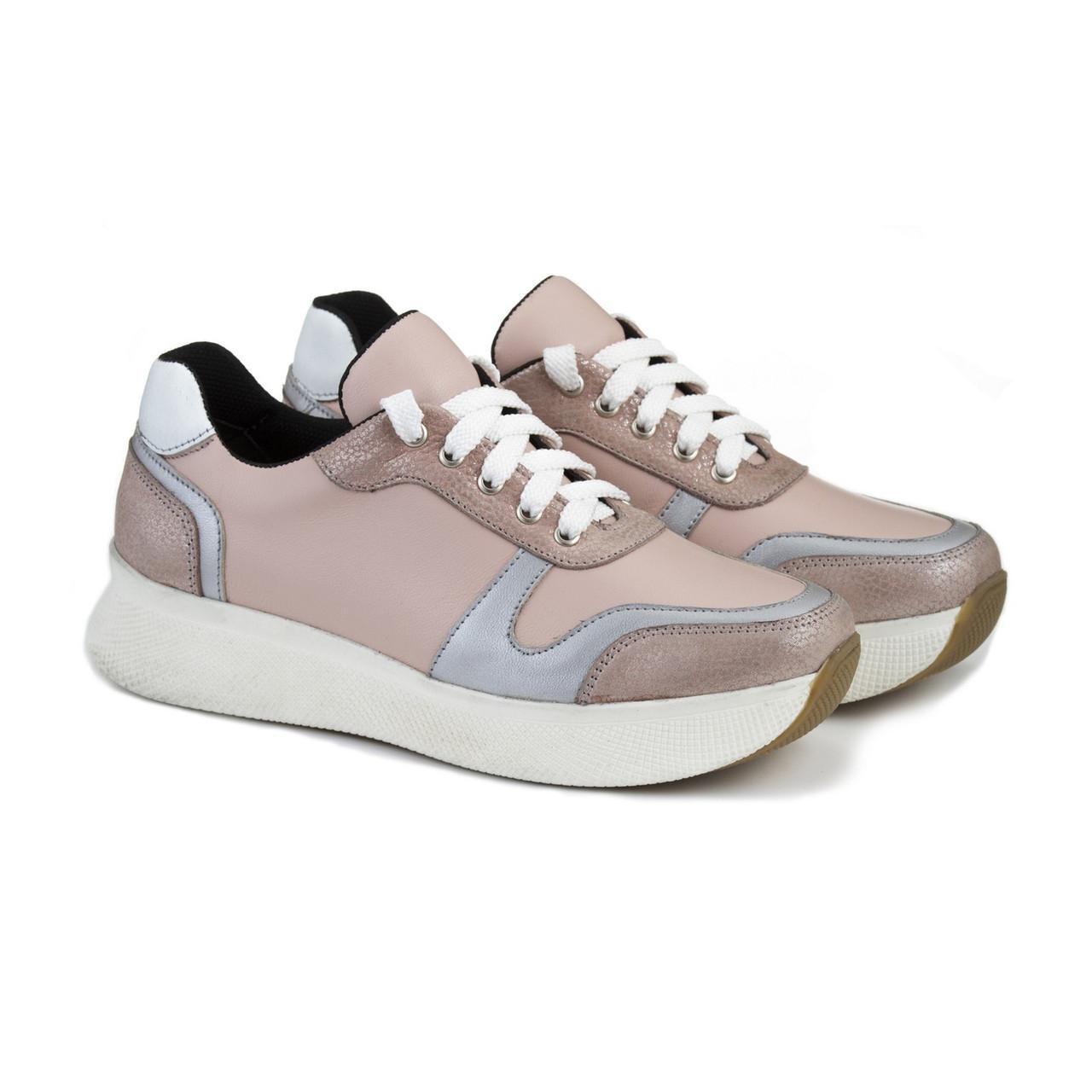 ce99b4a4d5a16 Пудровые качественные кроссовки на высокой подошве белого цвета ...