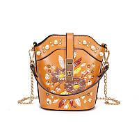 bcb6302db891 Коричневая сумка с жемчугом и вышивкой, Сумки женские, Коричнева сумка з  перлами і вишивкою