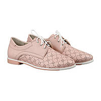 Розовые туфли с перфорацией на низком ходу