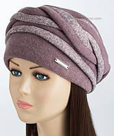 Теплая женская шапка цвет светлая сирень