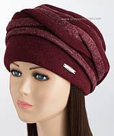 Зимняя женская шапка бордового цвета
