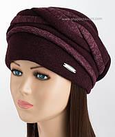 Объемная женская шапка цвет марсала