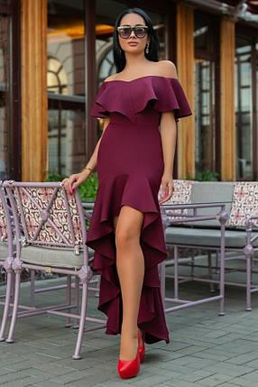 Женское Платье, цвет - Марсал (141)686-1. (5 цвета) Ткань: креп. Размеры: 44, 46, 48, 50., фото 2