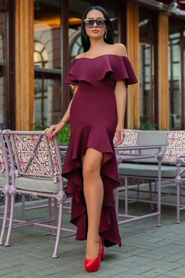 Женское Платье, цвет - Марсал (141)686-1. (5 цвета) Ткань: креп. Размеры: 44, 46, 48, 50.