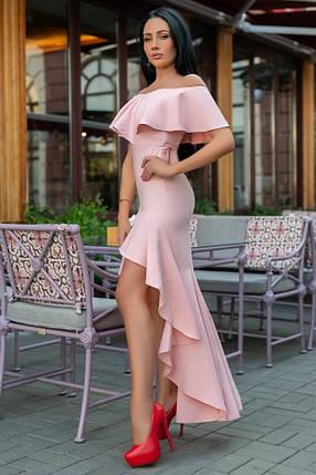 Женское Платье, цвет - Пудра (141)686-3. (5 цвета) Ткань: креп. Размеры: 44, 46, 48, 50., фото 2