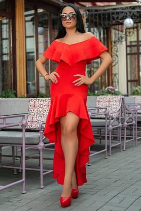 Женское Платье, цвет - Красный (141)686-4. (5 цвета) Ткань: креп. Размеры: 44, 46, 48, 50., фото 2