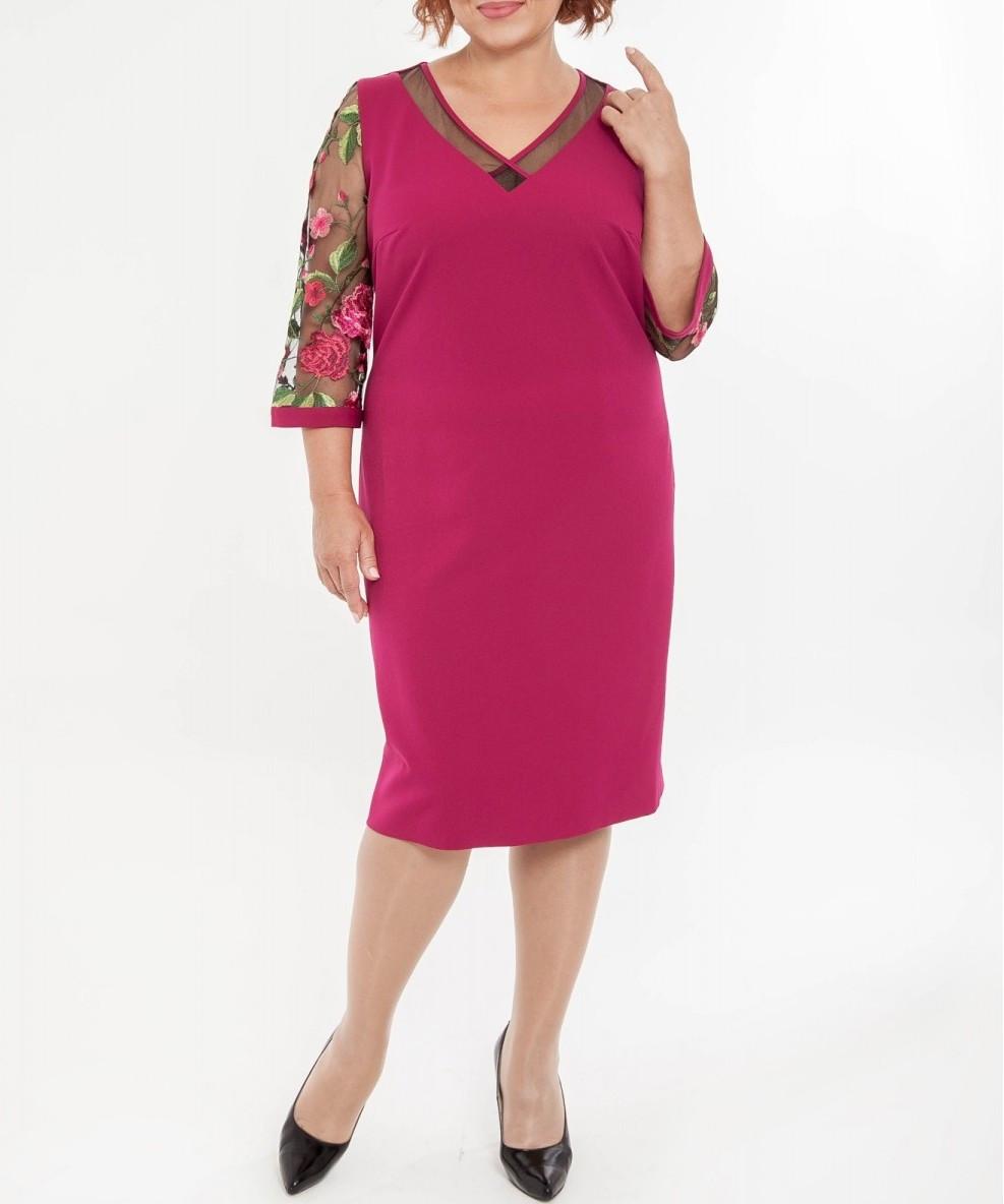 73e8df141659c13 Платье нарядное фуксия с рукавом из вышитой сетки большого размера -