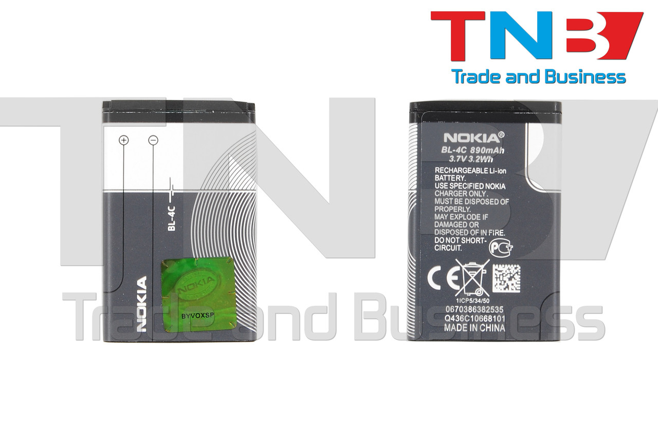 Батарея NOKIA BL-4C NOKIA 3500c, 5100, 6100, 6101, 6102, 6103, 6125, 6131 Li-ion 3.7V 860mAh ОРИГІНАЛ