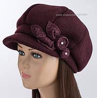 Теплая зимняя кепка на флисе цвет марсала
