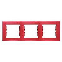 Рамка трехместная горизонтальная Красная Schneider Sedna (sdn5800541), фото 1