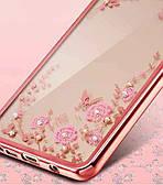 Силиконовый чехол-накладка с блестящими камушками и цветами для Samsung Galaxy A6 Plus 2018 Розовый