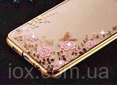 Силиконовый чехол-накладка с блестящими камушками и цветами для Samsung Galaxy A6 Plus 2018