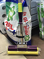 Швабра для пола 123cm*27cm с дв.отжимом гнут./губка мяг. (фиол./салат.), фото 1