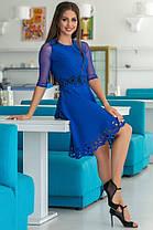 Женское Платье (141)665. (2 цвета) Ткань: креп + сетка + перфорация + термо фотопечать. Размеры: 44, 46, 48, 50., фото 3