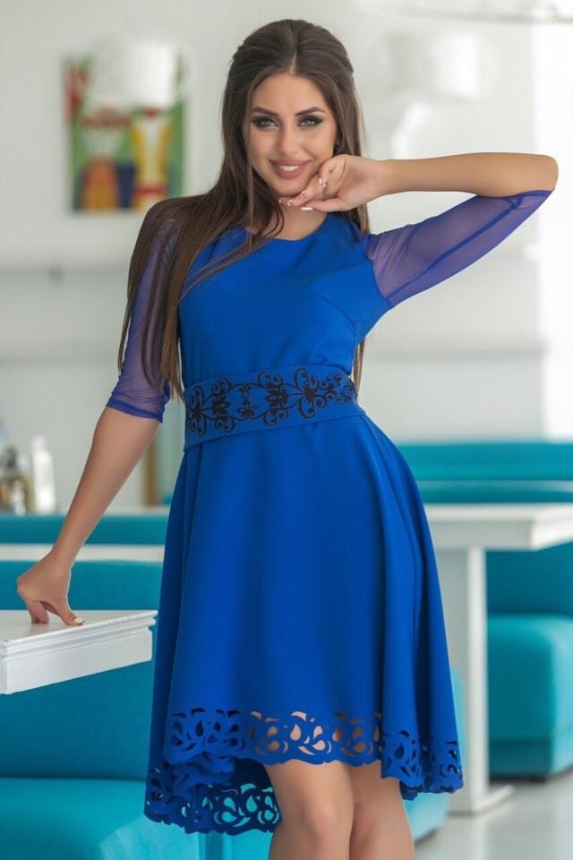 Женское Платье, цвет - Электрик (141)665-1. (2 цвета) Ткань: креп + сетка + перфорация + термо фотопечать. Размеры: 44, 46, 48, 50.