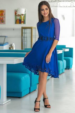 Женское Платье, цвет - Электрик (141)665-1. (2 цвета) Ткань: креп + сетка + перфорация + термо фотопечать. Размеры: 44, 46, 48, 50., фото 2