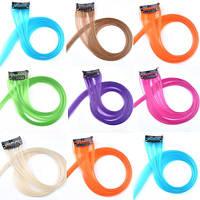 Цветная прядь искусственных волос на заколке 68 см