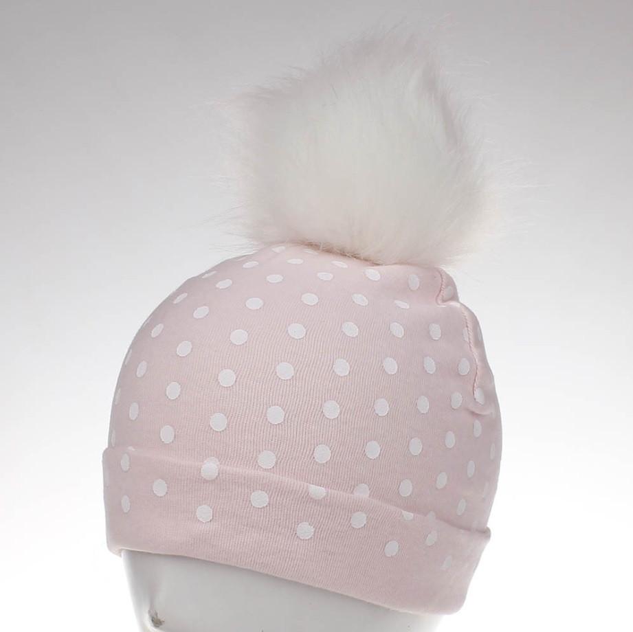 Шапка трикотажная с белым помпоном розоваяв белый горошек