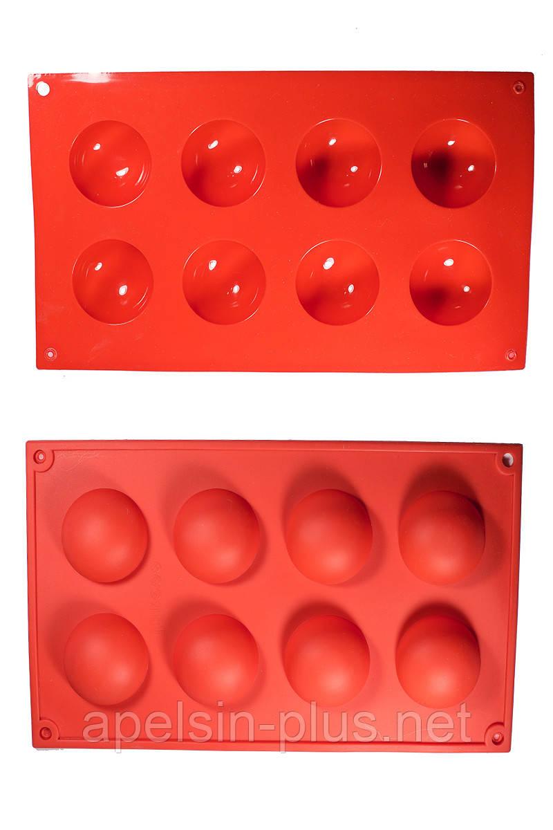 Силиконовая форма для десертов Полусферы на 8 ячеек