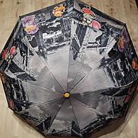Зонт от дождя  полуавтомат с узором складной