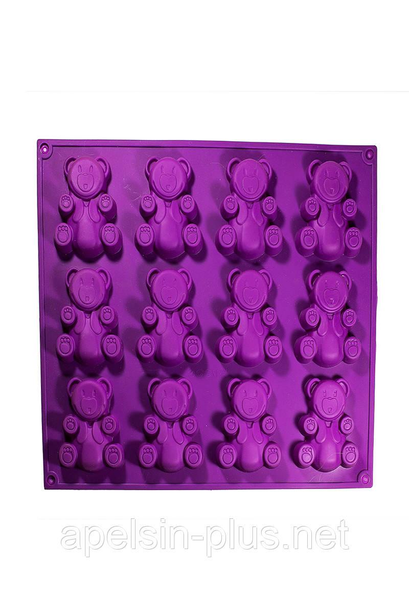 Силиконовая форма для выпечки Мишки Барни на 12 ячеек