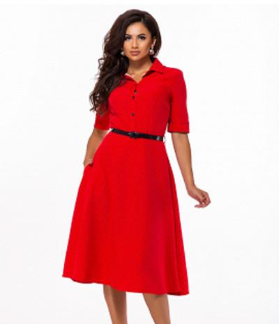d7fc1b7e26c Купить Расклешенное платье в горошек с поясом 823672 Украина ...