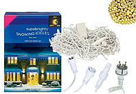 Новогодняя гирлянда Бахрома 300 LED, Белый теплый свет 14 м + Ночной датчик