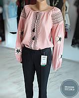 Рубашка вышиванка, вышитая рубашка в бледно-розовом цвете