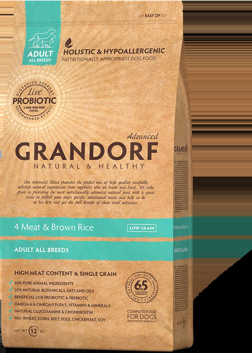 Grandorf (Грандорф) Living Probiotics 4 Meat & Brown Rice низкозерновой корм с 4 видами мяса, 12 кг