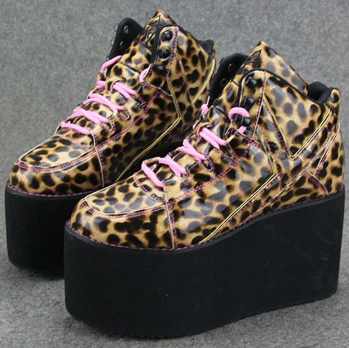 Стильные женские ботинки на платформе Ботильоны Леопардовые