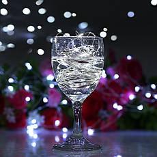 Новогодняя гирлянда 50 LED, Белый теплый свет + пульт, фото 3