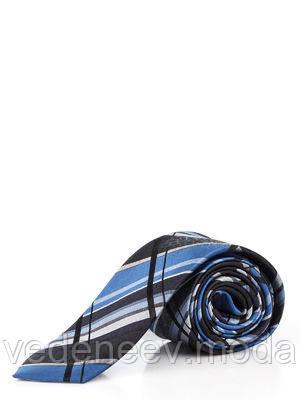 Галстук узкий в сине-черную клетку , жакардовый шелк высокого качества