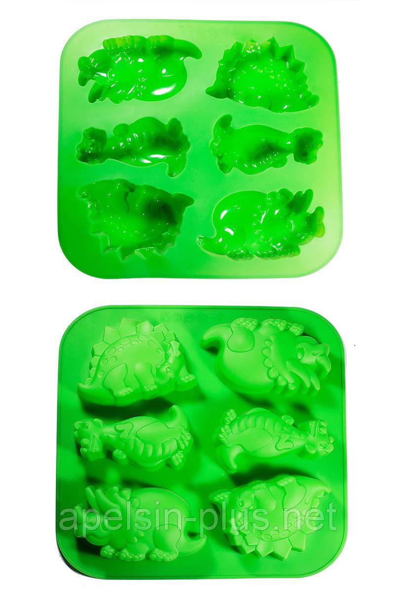 Силиконовая форма для выпечки Динозавры на 6 ячеек
