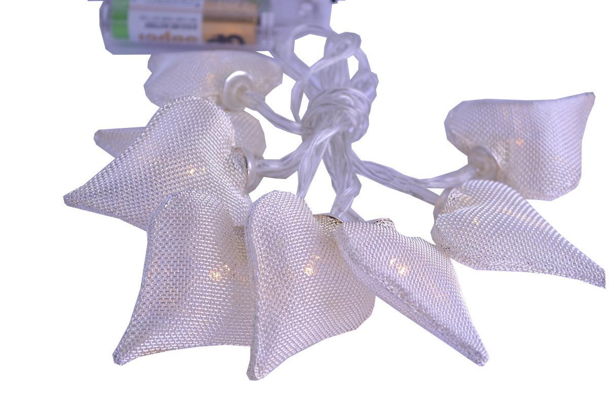 "Новогодняя гирлянда ""Сердца"" 8 LED, Белый теплый свет, на пальчиковых батарейках"