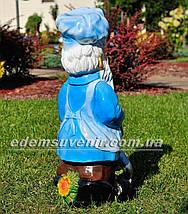 Садовая фигура Гном со сковородой, фото 3