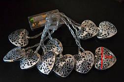 """Новогодняя гирлянда """"Сердца"""" 10 LED, Белый холодный свет, на пальчиковых батарейках, фото 3"""