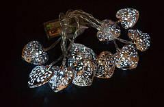 """Новогодняя гирлянда """"Сердца"""" 10 LED, Белый холодный свет, на пальчиковых батарейках, фото 2"""