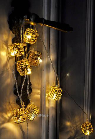 """Новогодняя гирлянда """"Кубики"""" LED x 10, Белый теплый свет, На пальчиковых батарейках, фото 2"""