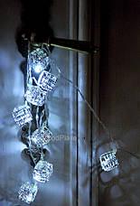 """Новогодняя гирлянда """"Кубики"""" LED x 10, Белый холодный свет, На пальчиковых батарейках, фото 2"""