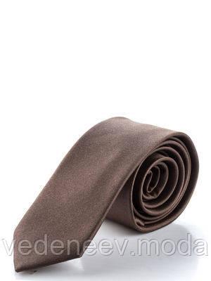 Коричневый узкий галстук, 100 % шелк высокого качества
