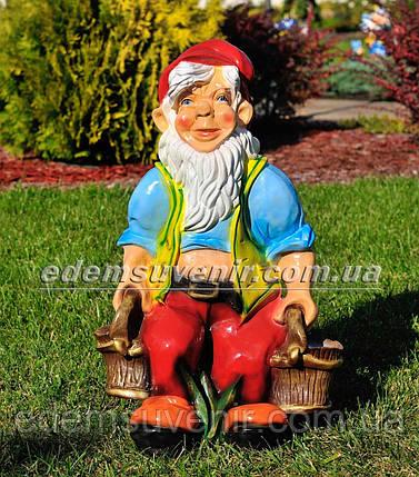 Садовая фигура Гном с ведрами, фото 2