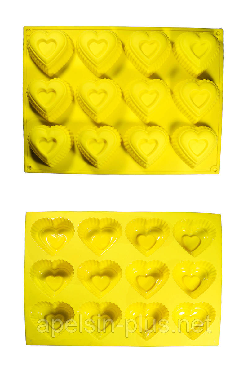 Силиконовая форма для выпечки Сердечки с выемкой на 12 ячеек