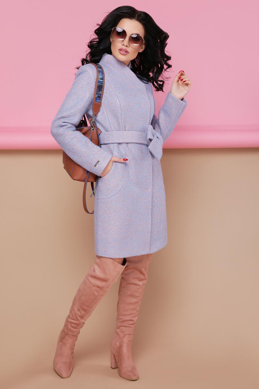 Женское пальто П-308 1228 голубой размер 42