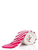 Узкий белый галстук  в красный полосатый купон, 100 % шелк высокого качества