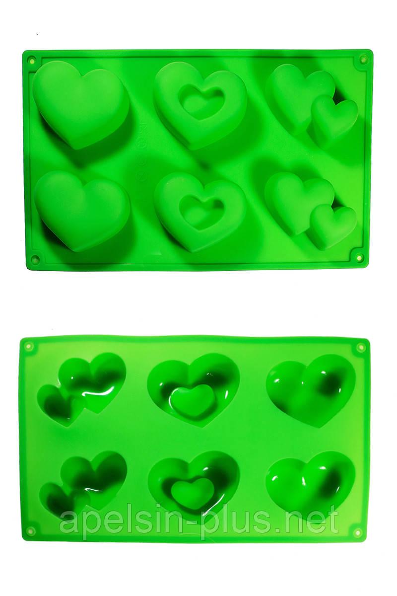Силиконовая форма для выпечки Сердечки валентинки на 6 ячеек