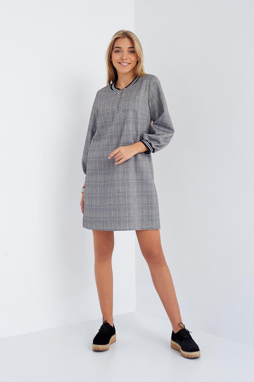 f789eb6382a8f41 Молодежное платье в серо-розовую клетку спортивного стиля от оптово ...