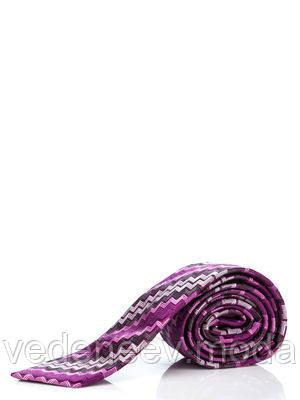 Узкий галстук цвета фуксии в зигзагообразную полоску, 100 % шелк высокого качества